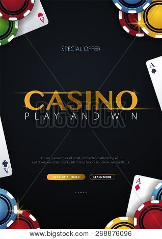 Casino Banner With Casino Chips And Cards. Poker Club Texas Holdem. Vector Illustration