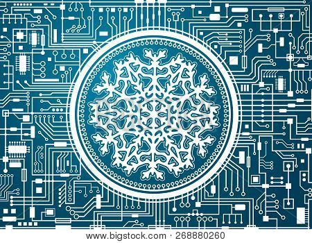 Blue Christmas Chipset Background With Huge White Snowflake In The Center. Futuristic Holiday Techno