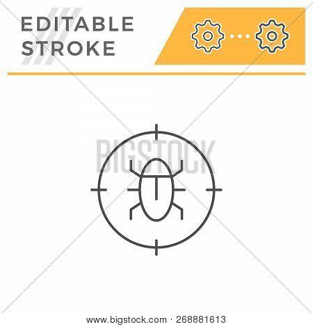 Disinfestation Line Icon Isolated On White. Editable Stroke. Vector Illustration