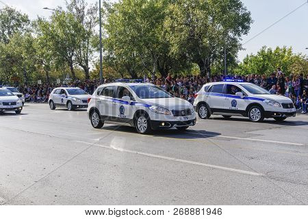 Thessaloniki, Greece - October 28 2018: Hellenic Police Cars During Oxi Day Parade. Greek Police - E