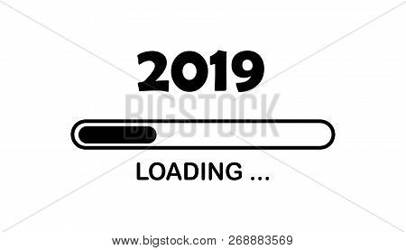 Happy New Year 2019 With Loading Icon Neon Style. Progress Bar Almost Reaching New Year's Eve. Illus