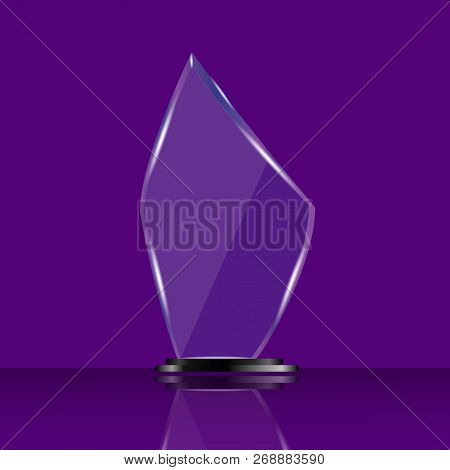 Glass Shining Trophy  Isolated On Violet Background. Glass Trophy Award Vector Illustration,