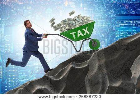 Businessman pushing tax wheelbarrow uphill