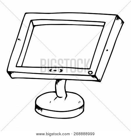 Monitor Icon. Vector Illustration Of A Monitor. Hand Drawn Computer Monitor.  Lcd Monitor.