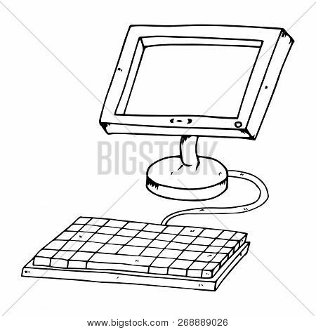 Flat Computer Monitor With Keyboard. Lcd Monitor. Vector Illustration Of A Flat Monitor. Hand Drawn
