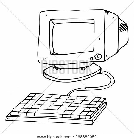 Old Computer Monitor. Vector Illustration Crt Monitor. Hand Drawn Old Computer Monitor With Keyboard