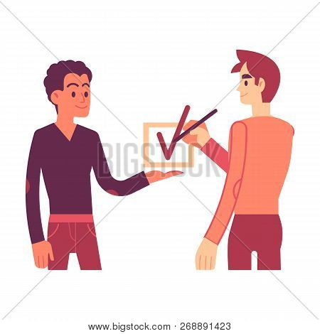 Vector Illustration Of Consent Concept In Flat Style.