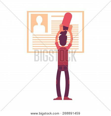 Vector Illustration Of Man With Big Eraser Deleting Personal Information From His Profile.