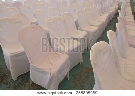 Group Of Empty White Chairs In Conference Hall Prepare Room For Seminars