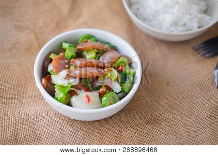 Chinese Sausage With Salad, Thai Style Food