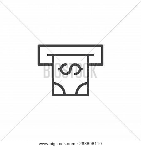 Atm With Cash Money Outline Icon. Linear Style Sign For Mobile Concept And Web Design. Cash Terminal