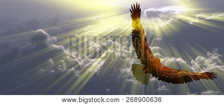 Eagle in flight above the clouds. Sunset or sunrise. 3D rendering