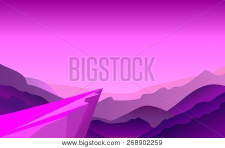 Cliff Background Violet Where Adventure In Jungle. Stand On Cliff Look To The Moon In Around With Mo
