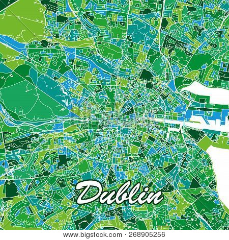 Colorful Dublin Map. Vector Illustration Template For Wall Art And Marketing In Square Format.