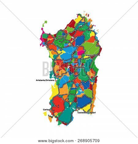 Colorful Map Of Sardinia. Vector Illustration Template For Wall Art And Marketing In Square Format.