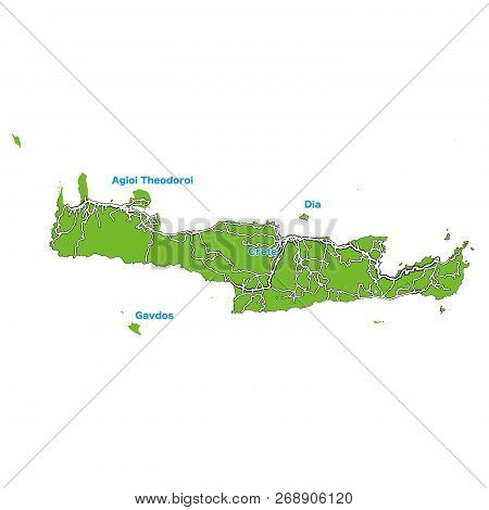 Island Map Of Crete. Vector Illustration Template For Wall Art And Marketing In Square Format.