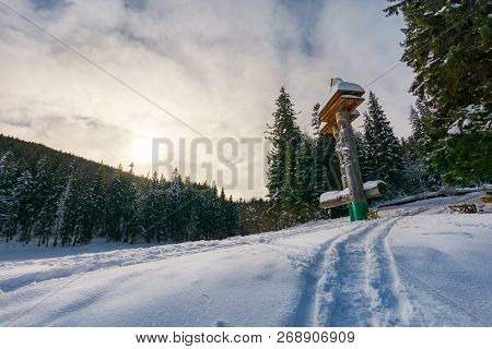 Synevyr, Ukraine - Jan 28, 2017: Statues Of Syn And Vyr On A Snowy Slope Among The Spruce Forest. Be