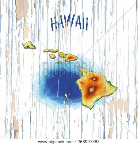 Vintage Map Of Hawaii. Vector Illustration Template For Wall Art And Marketing In Square Format.