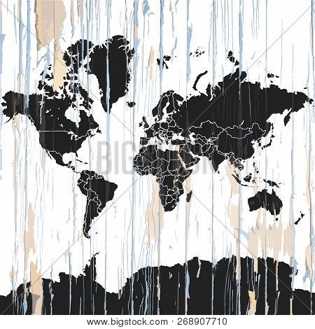 Vintage World Map On Wooden Background. Vector Illustration Template For Wall Art And Marketing In S