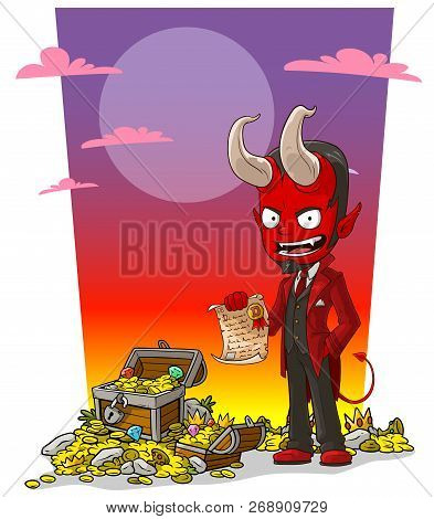 Cartoon Sly Evil Red Devil Character With Contract And Treasure Chest With Diamonds, Gold Coins And