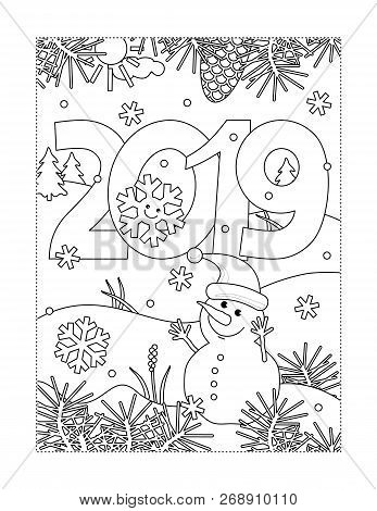 Winter Holidays, New Year Or Christmas Joy Themed Coloring Page With Year 2019 Heading, Winter Outdo