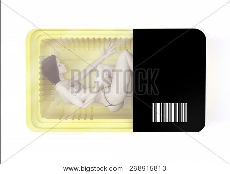 Food Packaging With Naked Woman Inside, 3d Illustration