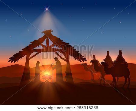 Christian Christmas Background. Birth Of Jesus, Shining Star And Three Wise Men, Illustration.