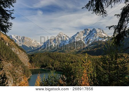 Panoramic View Of Mieminger Mountains In The European Alps Seen From Fernpass With Ehrwalder Sonnens