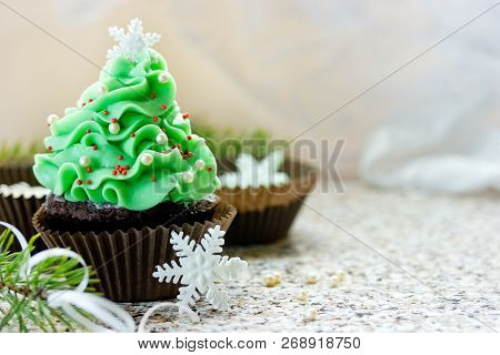 Christmas Tree Cupcake, Homemade Chocolate Cupcake Brownie Shaped Beautiful Christmas Tree