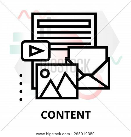 Modern Flat Thin Line Design Vector Illustration, Concept Of Content On Abstract Background, For Gra