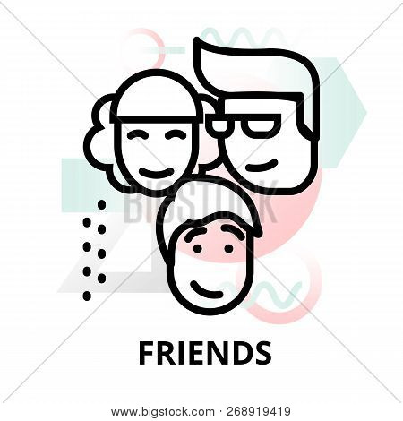 Modern Flat Thin Line Design Vector Illustration, Concept Of Friends On Abstract Background, For Gra