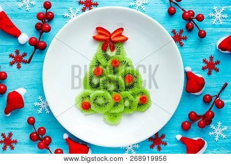 Christmas Tree Kiwi Strawberry Fruit Snack For Kids, Creative Idea For Christmas And New Year Festiv