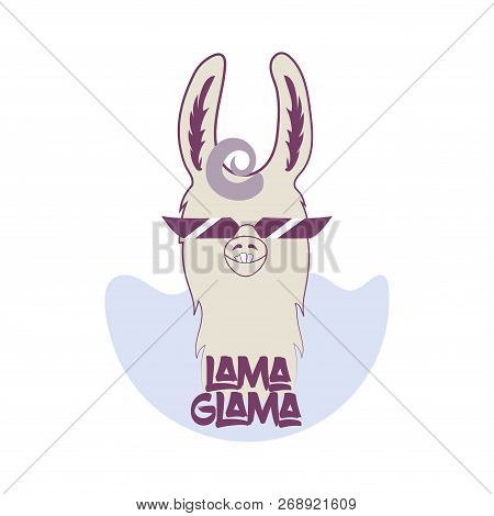 Funny Lama In Sunglasses With Curly Hair. Llama With Crooked Teeth Vector. Lama Head For Your Design