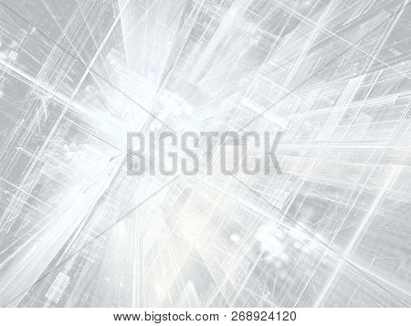 White Technology Or Business Background - Computer-generated Image. Digital Art: Composition Of Stra
