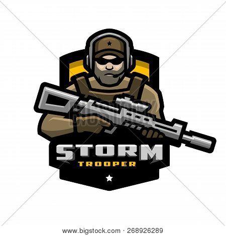 Storm Trooper Mascot, Logo Desing. Vector Illustration.