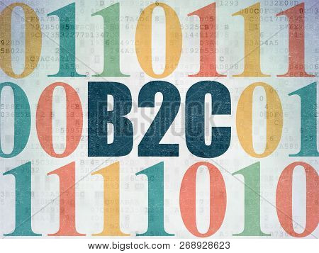 Finance concept: Painted blue text B2c on Digital Data Paper background with Binary Code poster