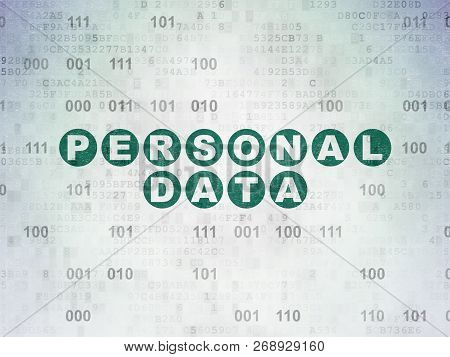 Information Concept: Painted Green Text Personal Data On Digital Data Paper Background With Binary C