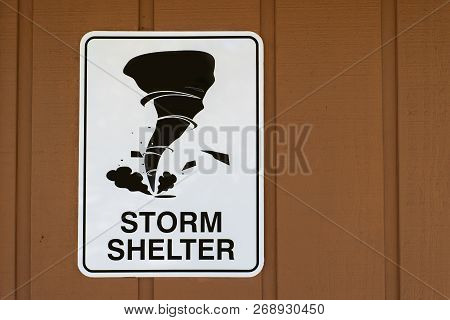 Storm Shelter Warning Sign For Tornados - Copy Space To The Right