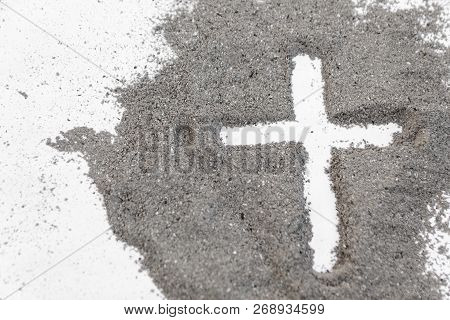 Cross Made Of Ashes, Ash Wednesday, Lent Season Vintage Abstract Background