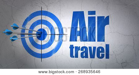Success Tourism Concept: Arrows Hitting The Center Of Target, Blue Air Travel On Wall Background, 3d