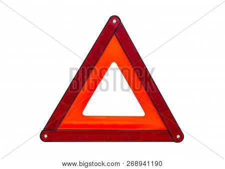 Foldaway, Reflective Road Hazard Warning Triangle Isolated On A White Background With A Clipping Pat