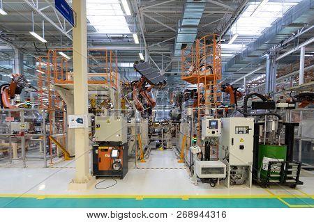Conveyor For Manufacture Of Cars. Automotive Shop. Car Assembly Plant. Car Manufacturer