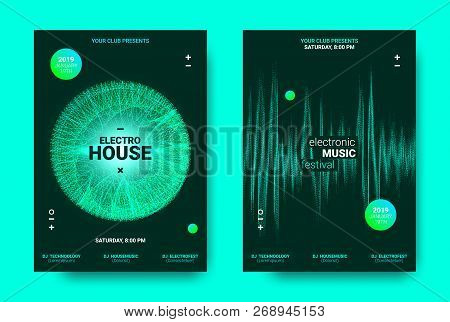 Electronic Music Poster. Sound Equalizer Vector Design. Amplitude Of Wave Lines. Futuristic Flyer Fo