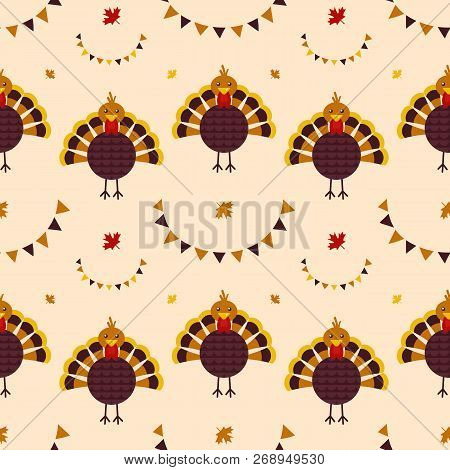 Thankgiving Day Vector Seamless Pattern Background With Turkey Bird, Garlands And Maple Leaves.