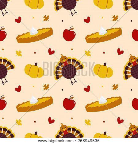 Thankgiving Day Vector Seamless Pattern Background With Turkey Bird, Pumpkin, Pumpkin Pie, Maple Lea