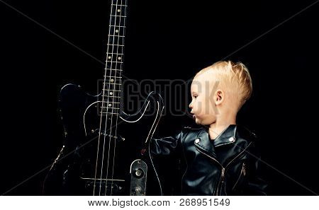 When Words Fail, Music Speaks. Rock Style Child. Rock And Roll Music Performer. Adorable Small Music