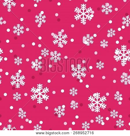 Red White Christmas Snowflakes Seamless Pattern. Great For Winter Holidays Wallpaper, Backgrounds, I