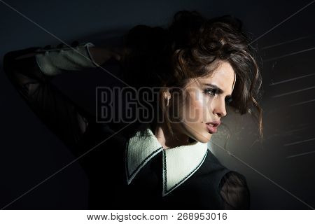 Vintage Woman With Makeup, Classic Style. Beauty And Fashion Look. Gorgeous And Beautiful. Fashion W