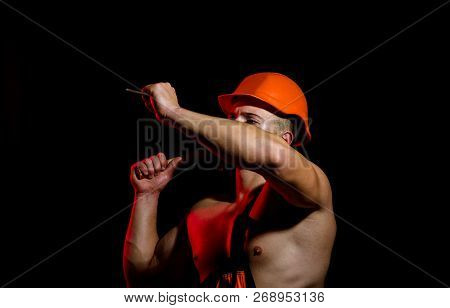 Now Under Construction. Hard Worker Use Muscular Strength. Construction Worker Hammer A Nail. Man Wo