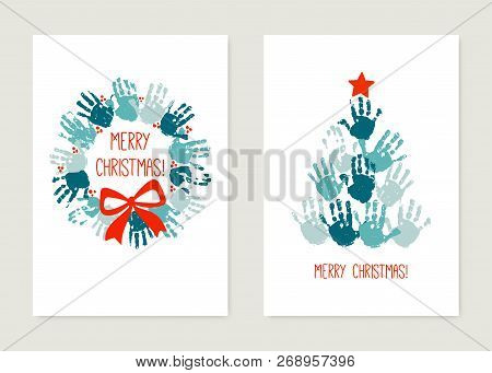 Chrismas Cards To Make With Kids. Handprint Christmas Tree With Red Star. Handprint Christmas Wreath